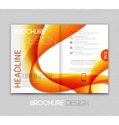Abstract template brochure design with orange wave vector