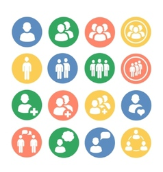 People and social colored icon set vector