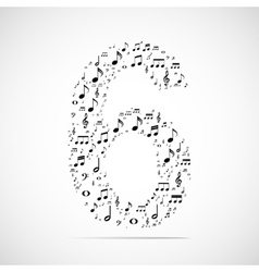 Number six made from music notes vector