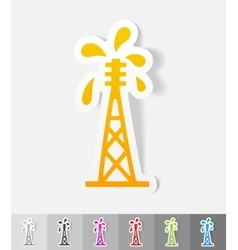 Realistic design element oil derrick vector