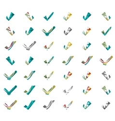 Set of abstract ok and tick icons business vector