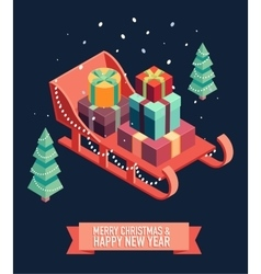 Isometric sleigh gifts merry christmas new year vector