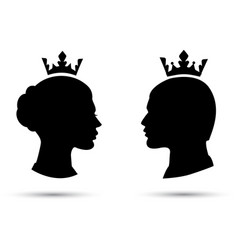King and queen heads king and queen face vector