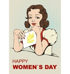 Woman reading letter retro greeting card on march vector