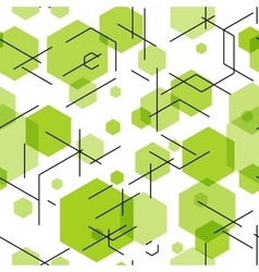 Green hexahedron seamless pattern background vector