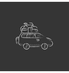 Car with bicycle mounted to the roof drawn in vector