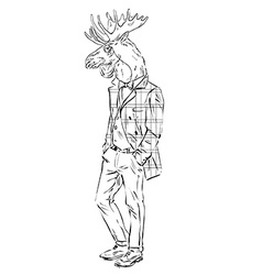Anthropomorphic design of moose hipster vector image