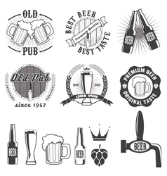 Beer pub labels badges and icons collection vector image