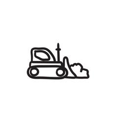Bulldozer sketch icon vector