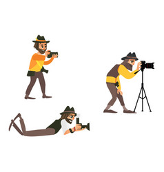 Cartoon photographers making photo set vector