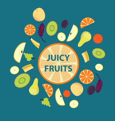 Colorful organic fresh fruits set vector