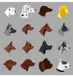 Dog icons set flat style vector