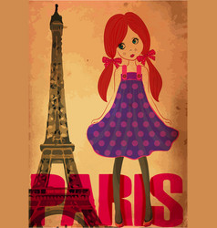 fashion cute girl in paris vector image