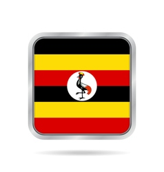 Flag of uganda shiny metallic gray square button vector