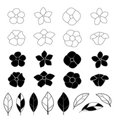 flower icon set on white background vector image vector image