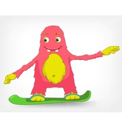 Funny monster snowboarding vector