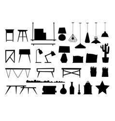 Furniture room interior black silhouette design vector
