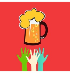 Hands reaching for a glass of beer vector image
