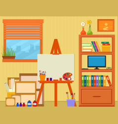 Home art studio with easel and painting tools vector