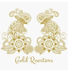 mehendi Gold roosters vector image vector image