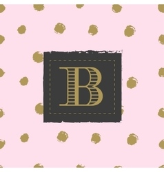 Monogram on hand drawn ink background polka dot vector