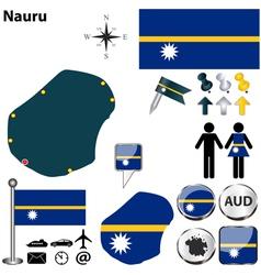 Nauru Flag And Map Royalty Free Vector Image VectorStock - Nauru map vector