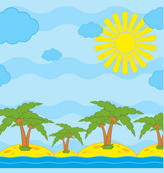palm trees on yellow sand by the sea against a vector image
