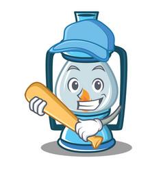 Playing baseball lantern character cartoon style vector