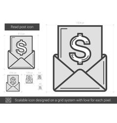 Read post line icon vector