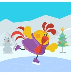 Rooster bird skate on skating ring cock in sport vector