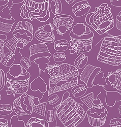 Seamless cupcak background vector image