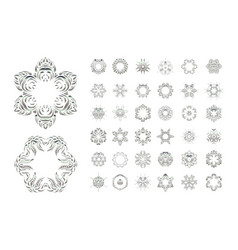 Set of arabic mandala on white backgroun vector