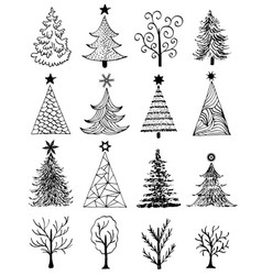 Set of hand drawn christmas tree vector