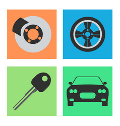 Set of service car flat icon on white background vector