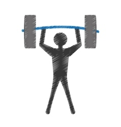 Silhuette man lifting barbell vector