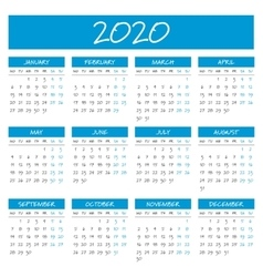 Simple 2020 year calendar vector image