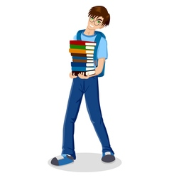 Student with pile colour books vector