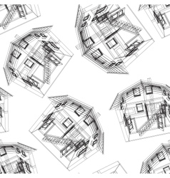 Stylized house pattern vector image vector image