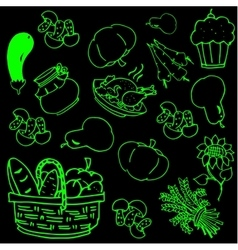 Thanksgiving day vegetable doodles vector