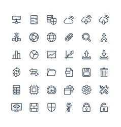 thin line icons set with big data and vector image vector image
