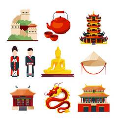 traditional chinese cultural objects in vector image