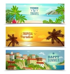 Travel agency tropical paradise vacation banners vector