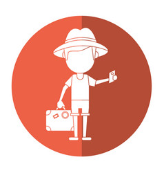 Traveler man with suitcase passport shadow vector