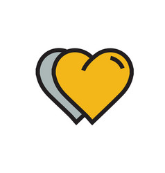 Twins heart icon cartoon yellow color vector