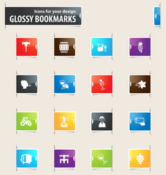 Vineyard and wine bookmark icons vector