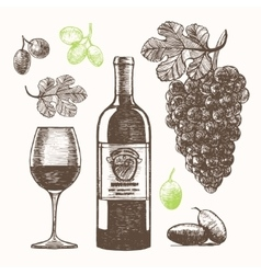 Wine Set Hand Draw Sketch vector image vector image