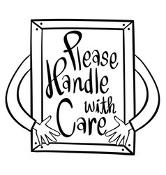 Word expression for please handle with care in vector