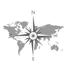 World map with wind rose vector