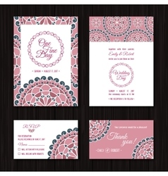 Save the date rsvp cards wedding invitation coral vector