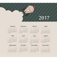 Calendar 2017 year with rocket Week Starts Sunday vector image
